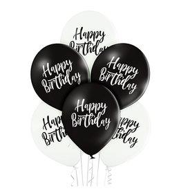 Belbal latex ballon happy birthday zwart/wit 6 stuks