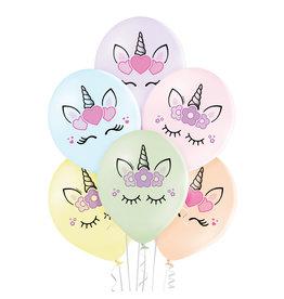 Belbal latex ballon unicorn heads 6 stuks