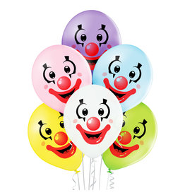 Belbal latex ballon clown faces 6 stuks