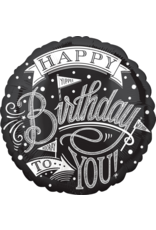 Amscan folieballon happy birthday zwart wit stijl