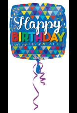 Amscan folieballon happy birthday driehoeken 43 cm