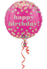 Amscan folieballon happy birthday dotty pink gold 45 cm