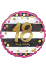 Amscan folieballon pink&gold 18 jaar 45 cm