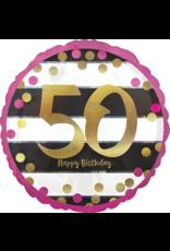 Amscan folieballon pink&gold 50 jaar 45 cm