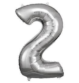 Amscan folieballon zilver cijfer 2 86 cm