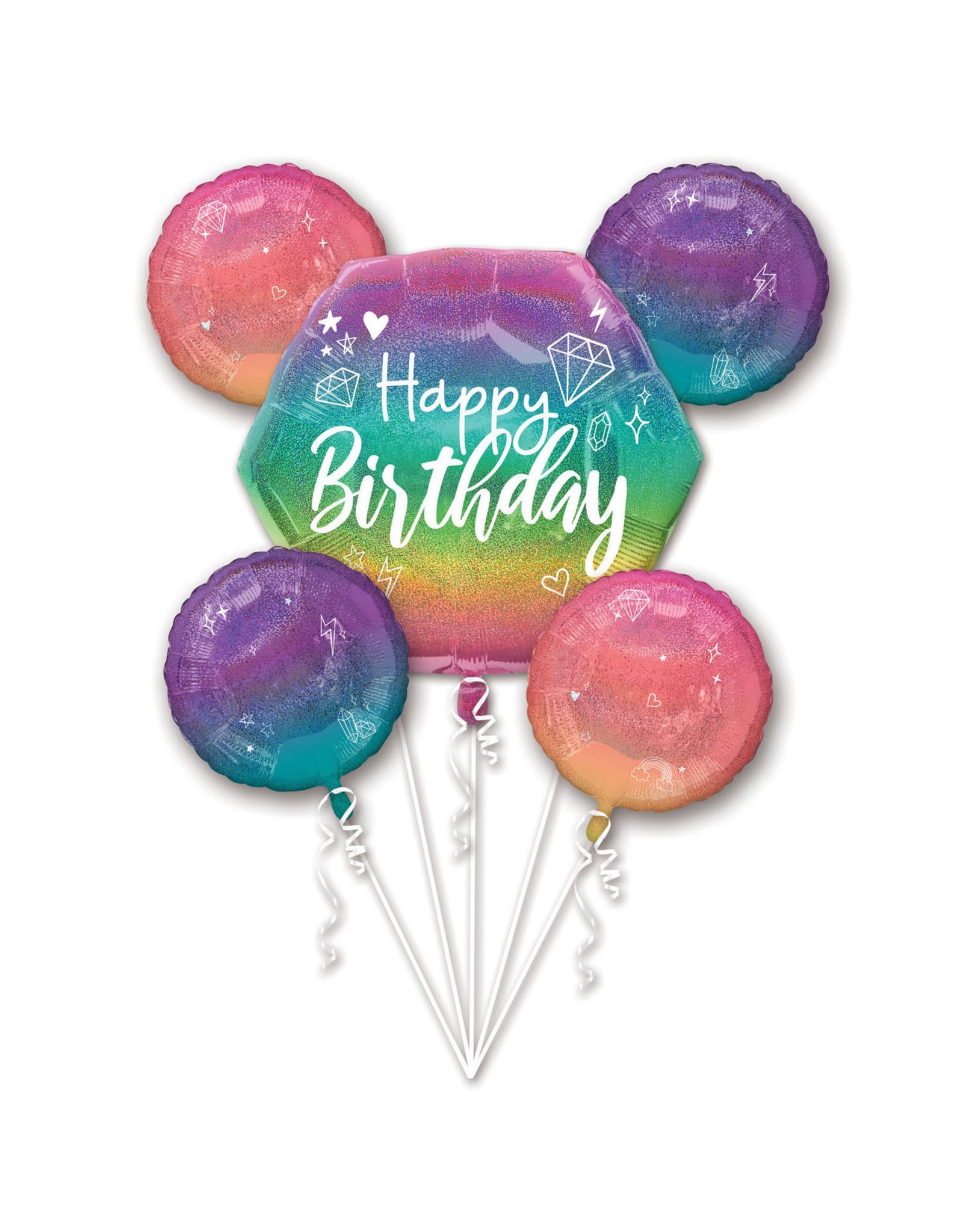 Amscan folieballonpakket sparkling regenboogkleuren hb 5-delig