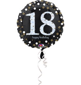 Amscan sparkling folieballon 18 jaar zilver 45 cm