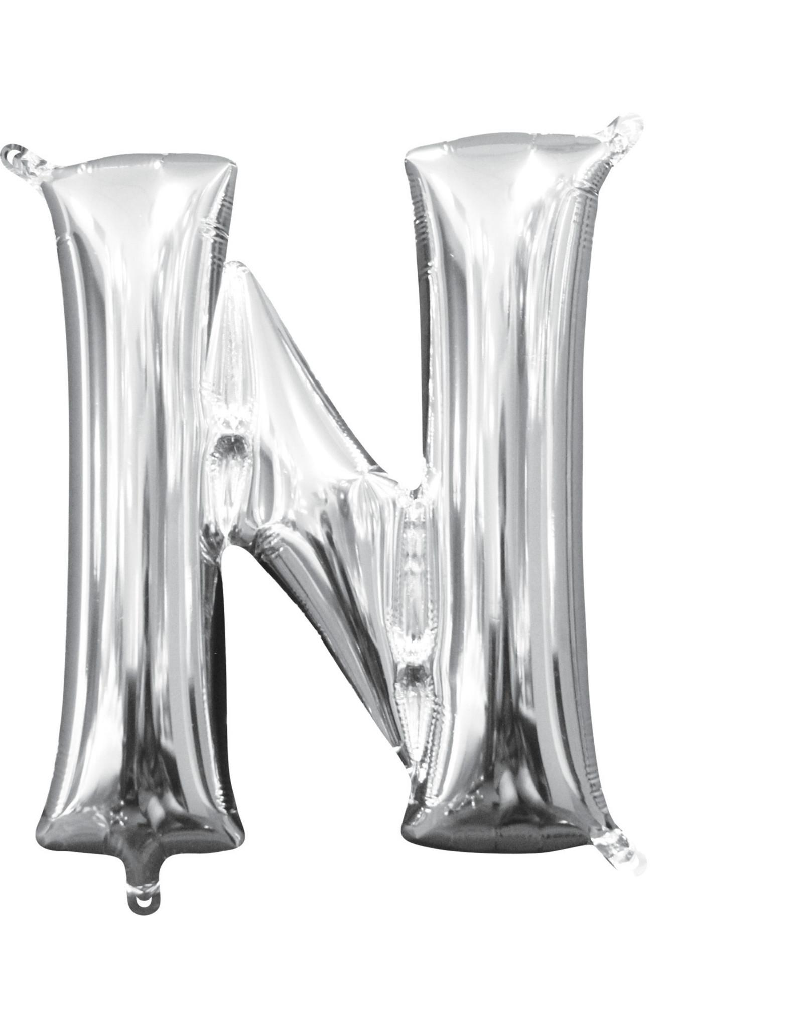 Amscan folieballon zilver letter N 40 cm