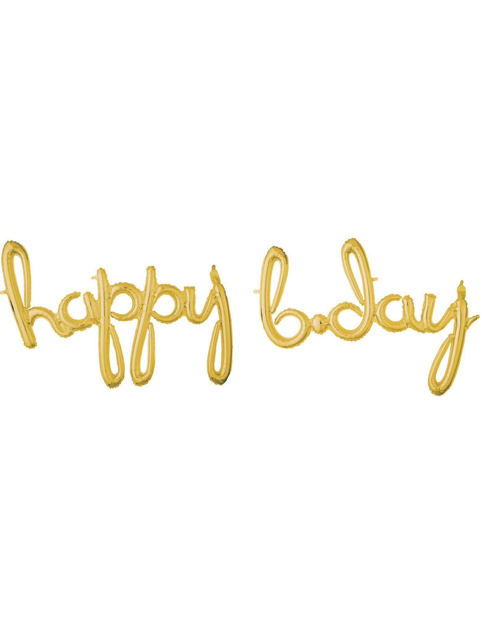 Amscan folieballon airfilled goud Happy b-day