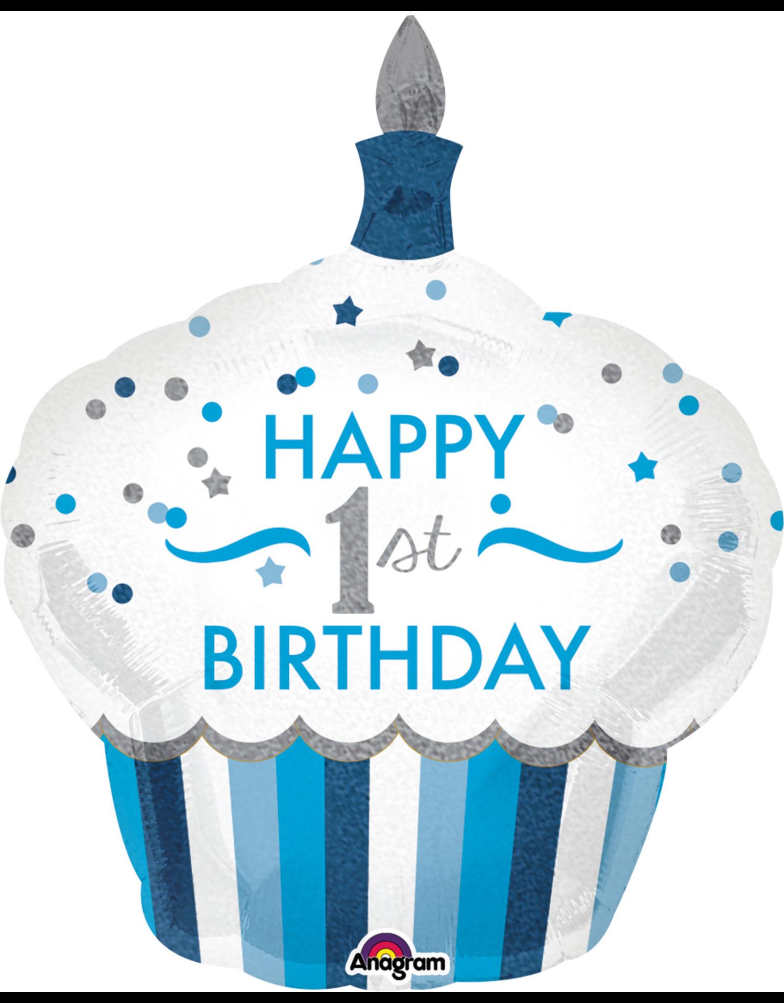 Amscan folieballon 1st birthday cupcake blue 73 x 91 cm