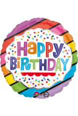 Amscan folieballon happy birthday rainbow dots stripes 43 cm