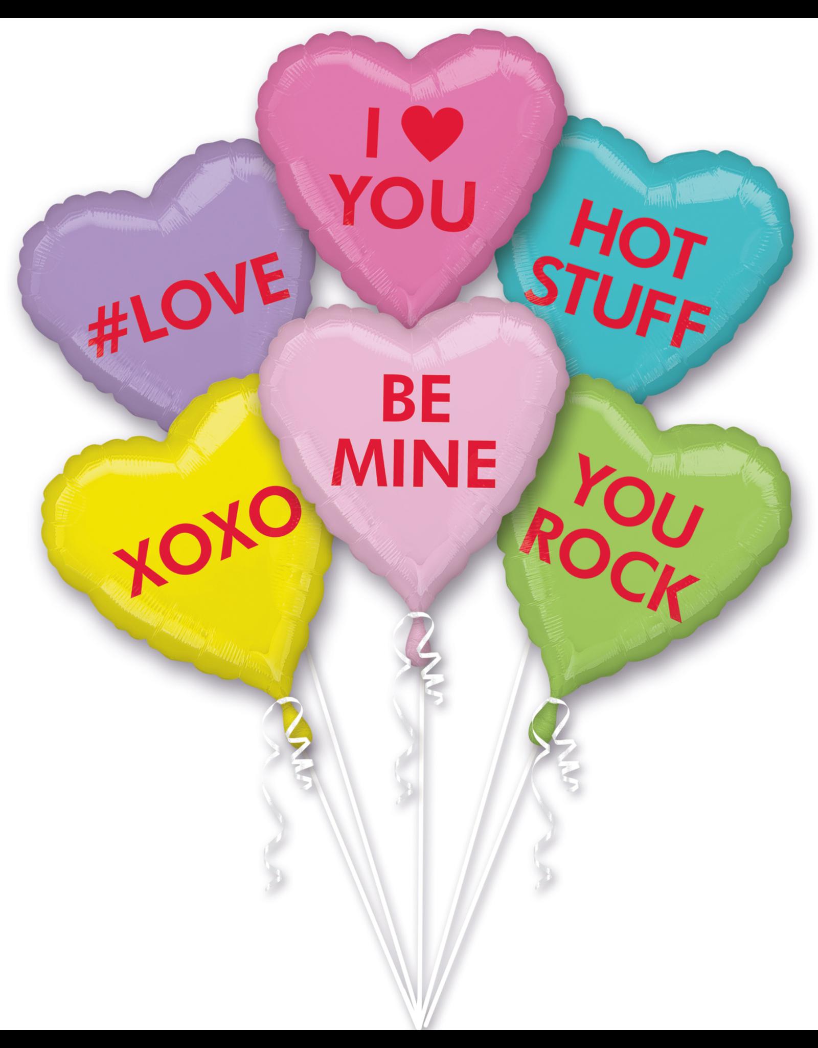 Amscan folieballonpakket candy hearts 6-delig