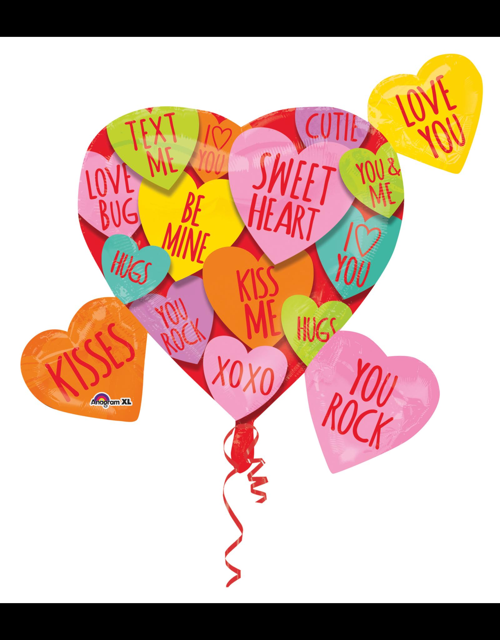 Amscan folieballon cluster hearts messages 68 x 83 cm