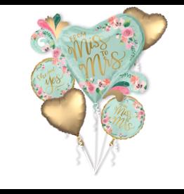Amscan folieballonpakket from miss to mrs 5-delig