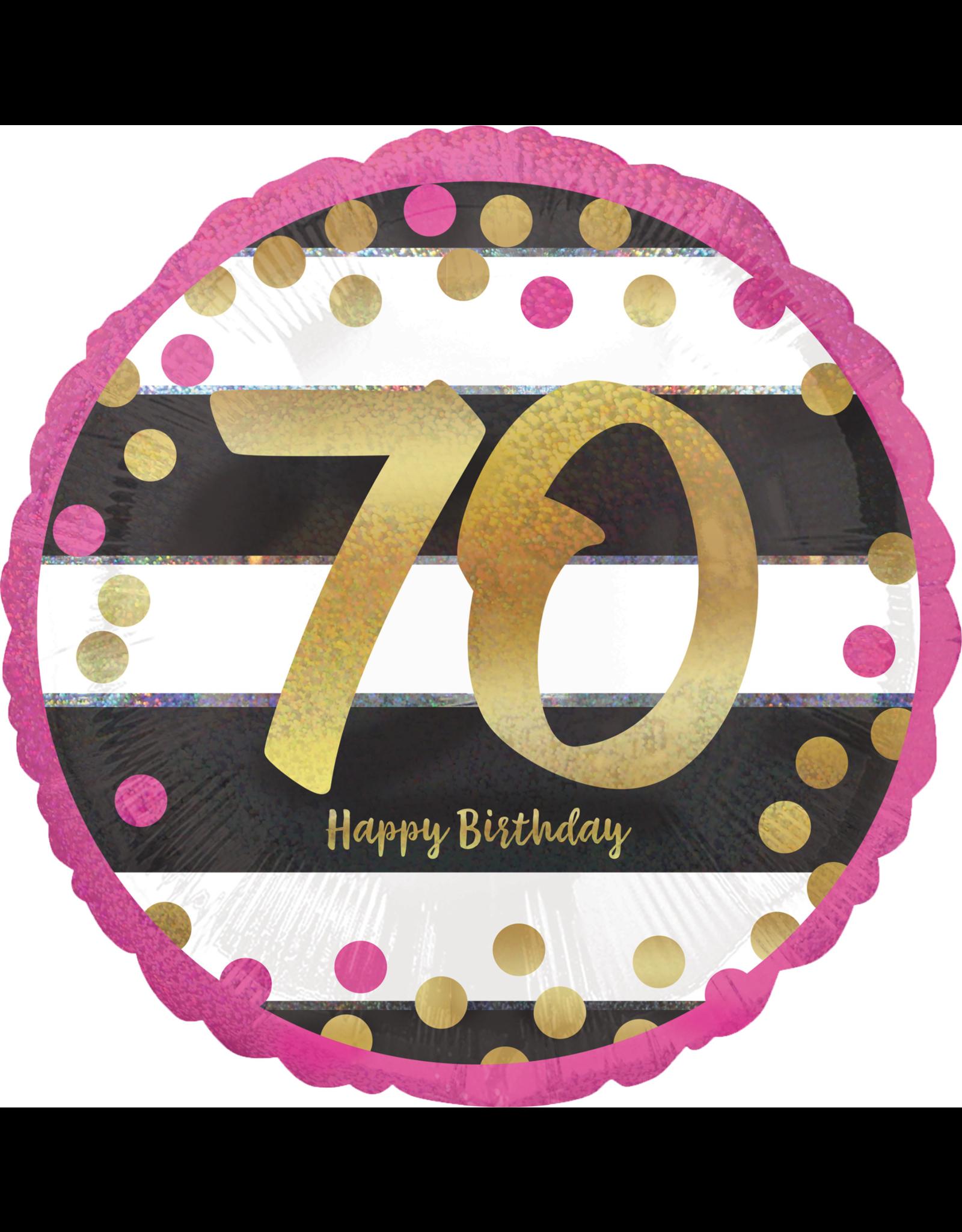 Amscan folieballon pink&gold 70 jaar 45 cm