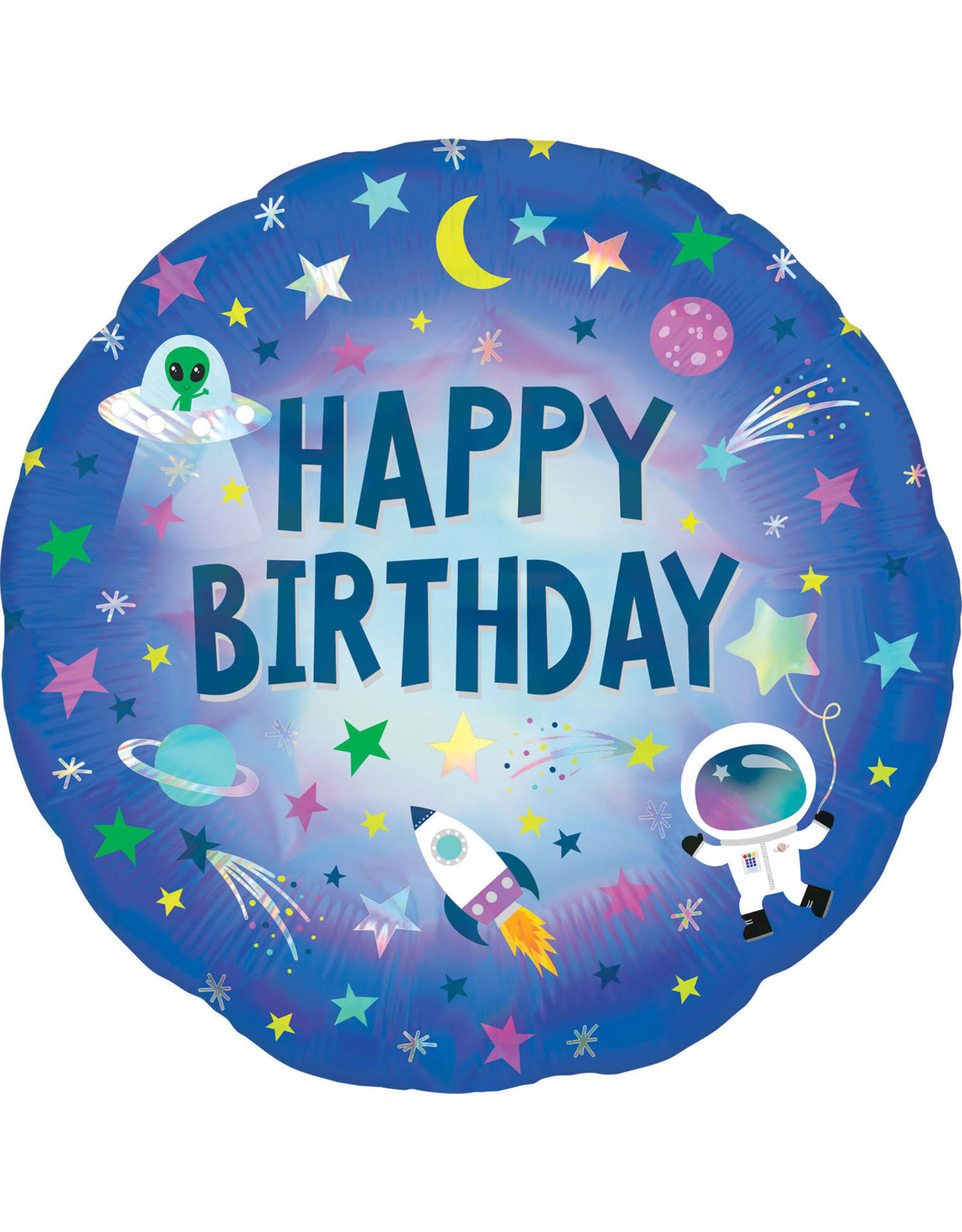 Amscan folieballon happy birthday ruimte 43 cm