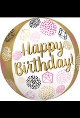 Amscan folieballon orbz happy birthday roze/goud