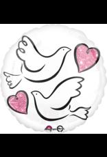 Amscan folieballon wedding doves 43 cm