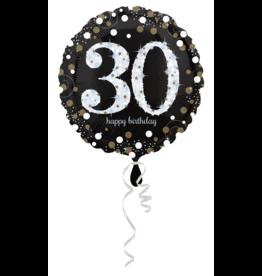 Amscan sparkling folieballon 30 jaar zilver 45 cm