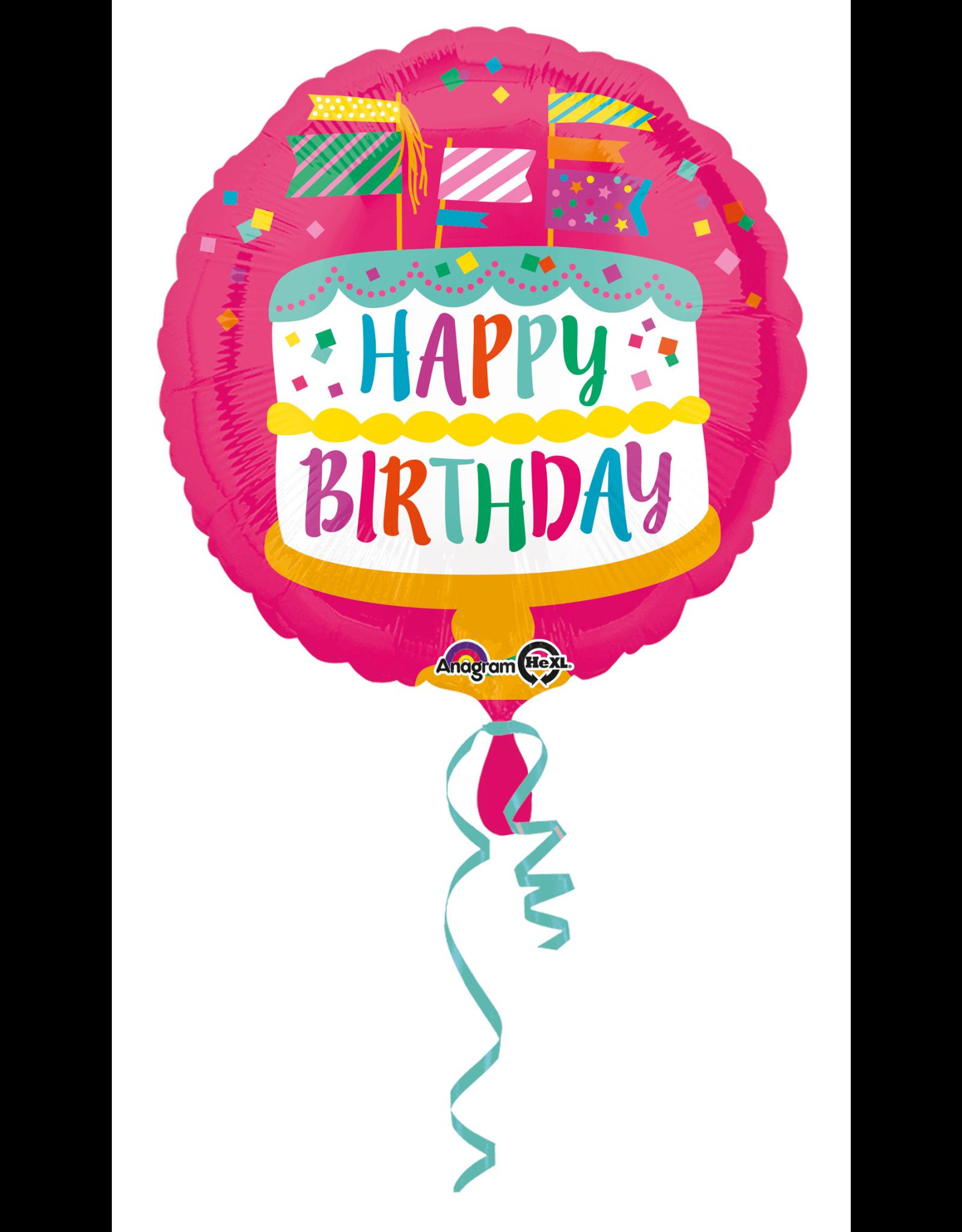 Amscan folieballon happy birthday taart met vlaggetjes 43 cm