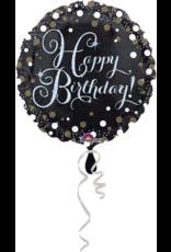 Amscan folieballon sparkling happy birthday zwart zilver