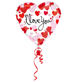 Amscan folieballon I love you hearts wit 43 cm