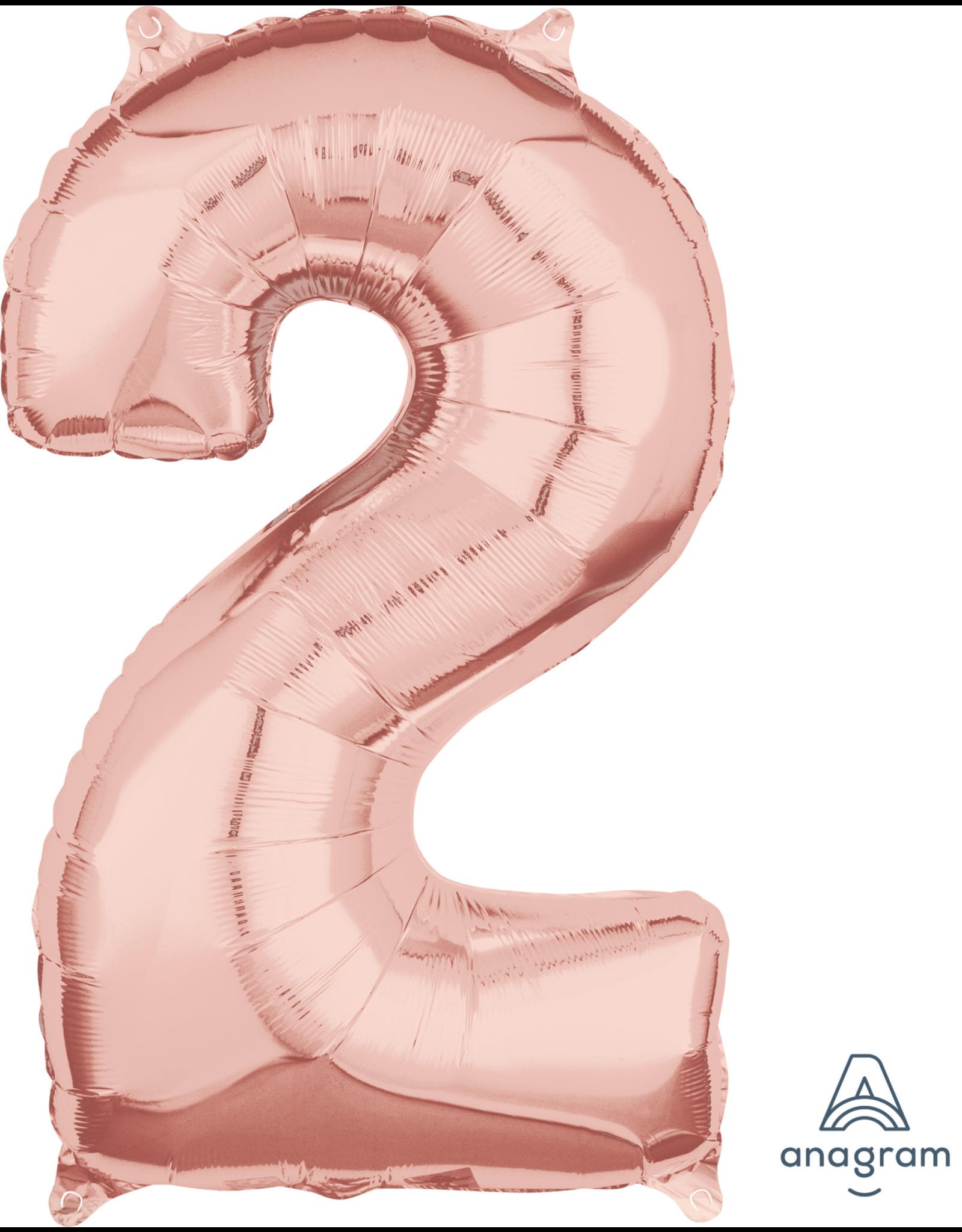 Amscan folieballon rose goud cijfer 2 66 cm
