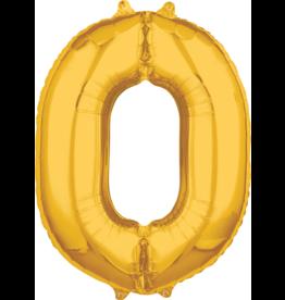 Amscan folieballon goud cijfer 0 66 cm