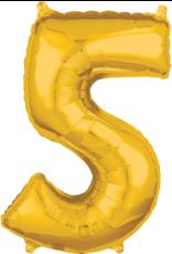 Amscan folieballon goud cijfer 5 66 cm