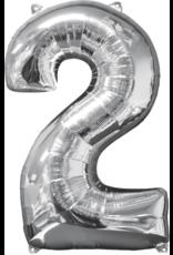 Amscan folieballon zilver cijfer 2 66 cm