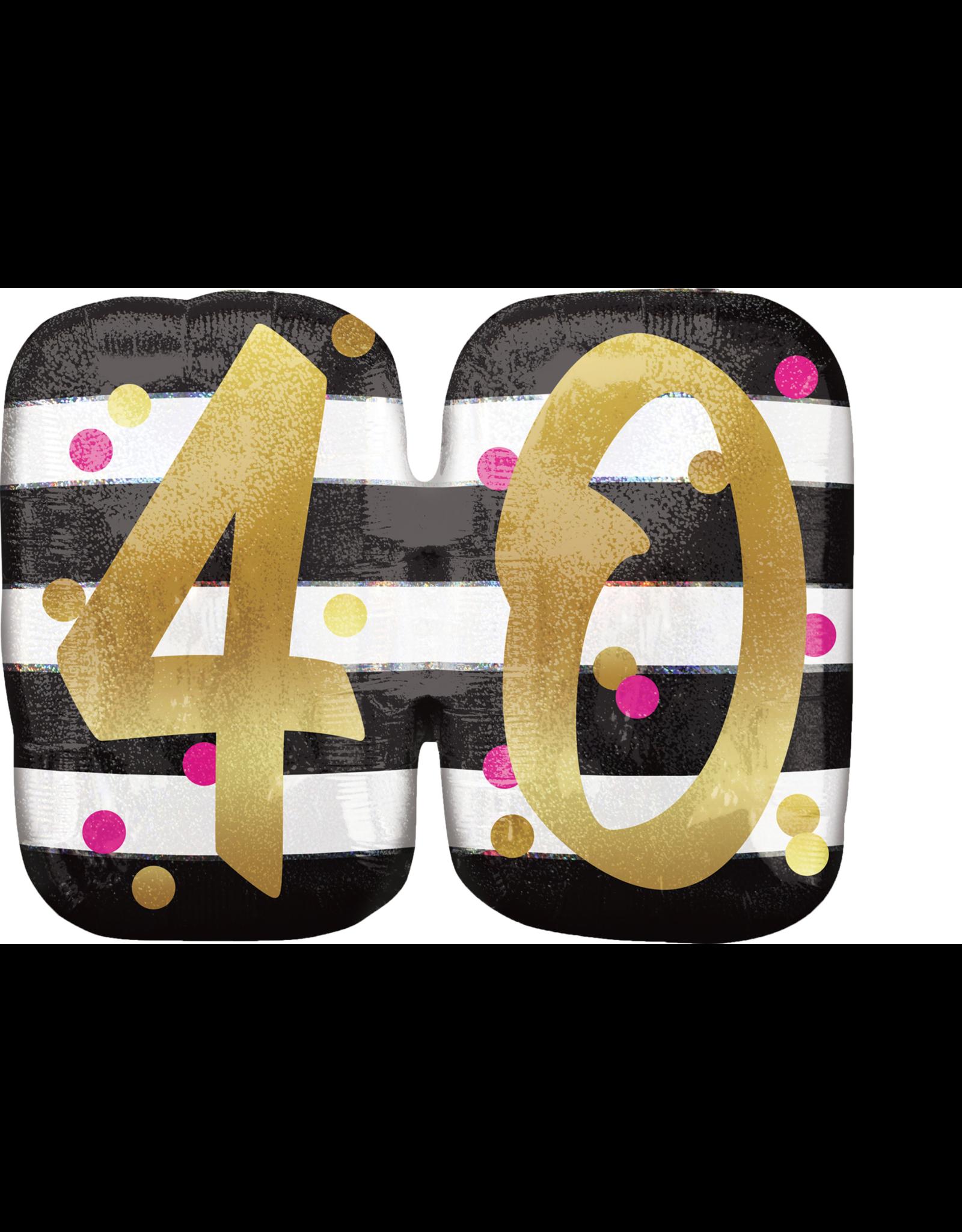 Amscan folieballon supershape pink&gold 40 jaar