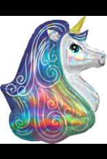 Amscan folieballon supershape glitter unicorn 63 x 76 cm