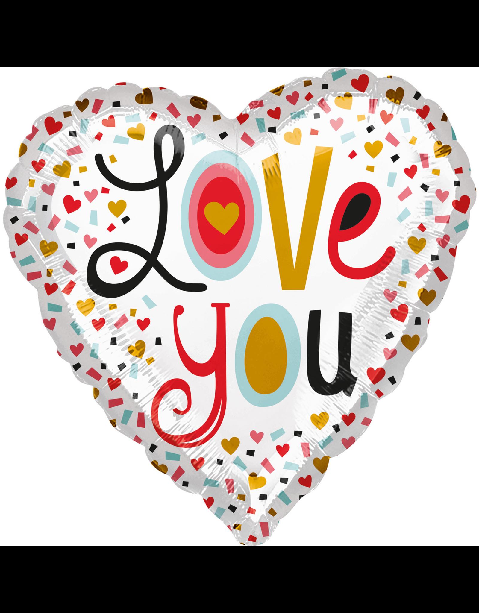 Amscan folieballon I love you hearts rood 43 cm