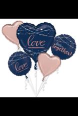 Amscan folieballonpakket love rose goud/navy blauw 5-delig