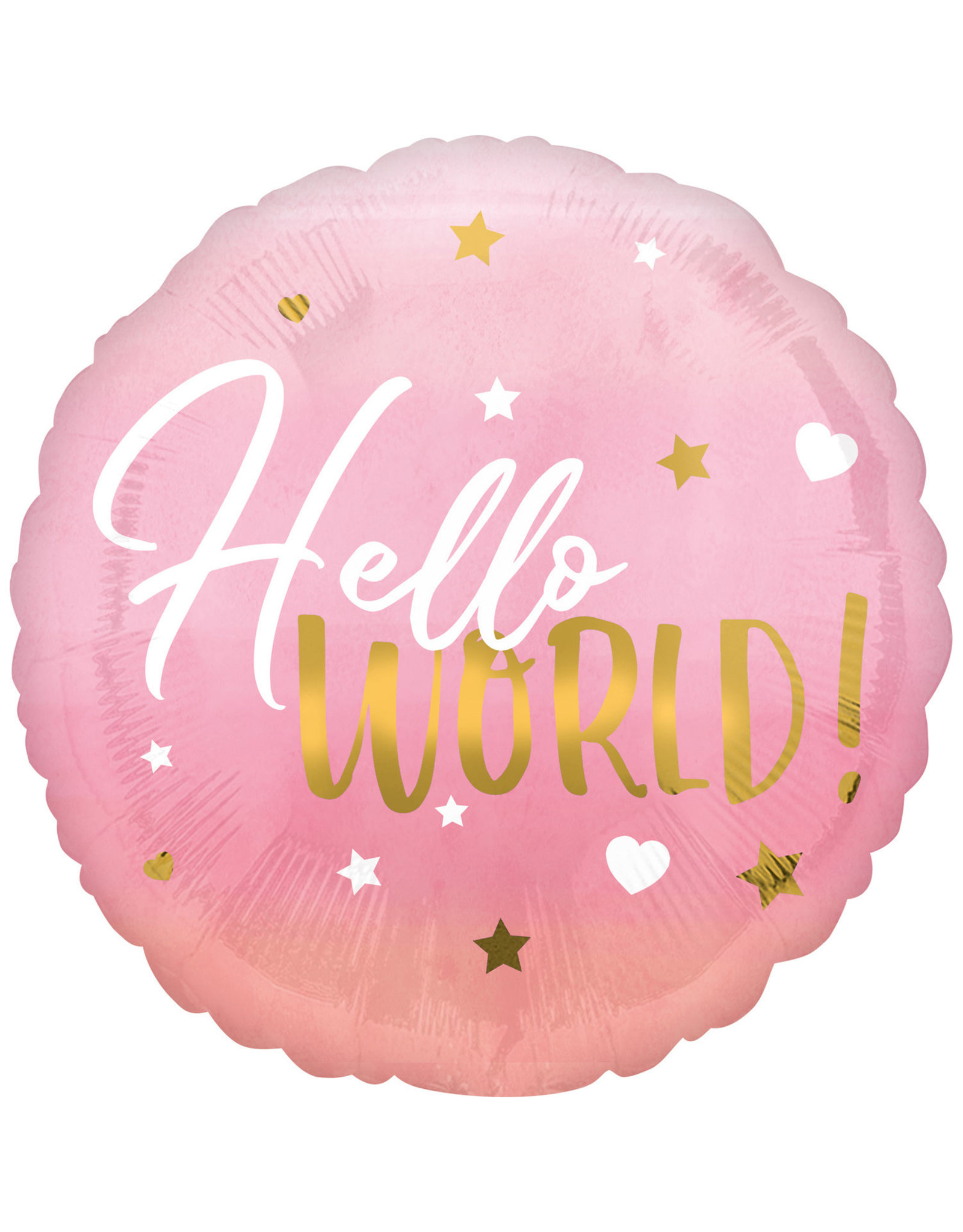 Amscan folieballon hello world roze goud 43 cm