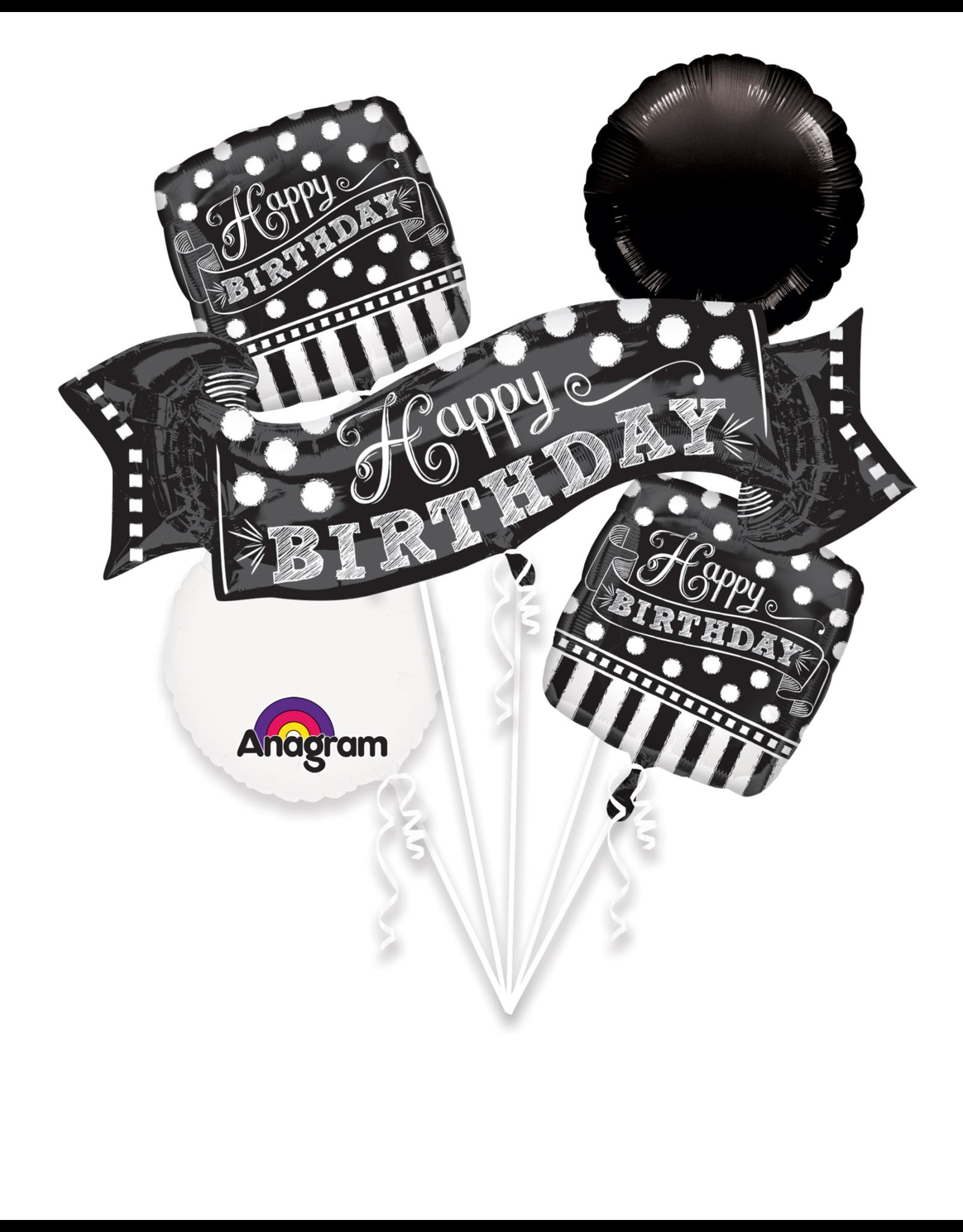 Amscan folieballonpakket happy birthday zwart-wit 5-delig