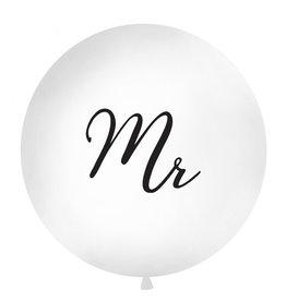 Ballon 1 meter rond pastel wit Mr