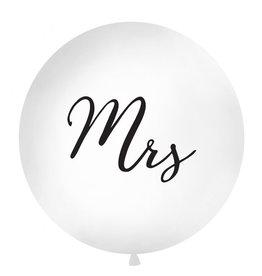 Ballon 1 meter rond pastel wit Mrs