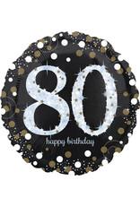 Amsan folieballon 80 jaar zwart zilver 45 cm