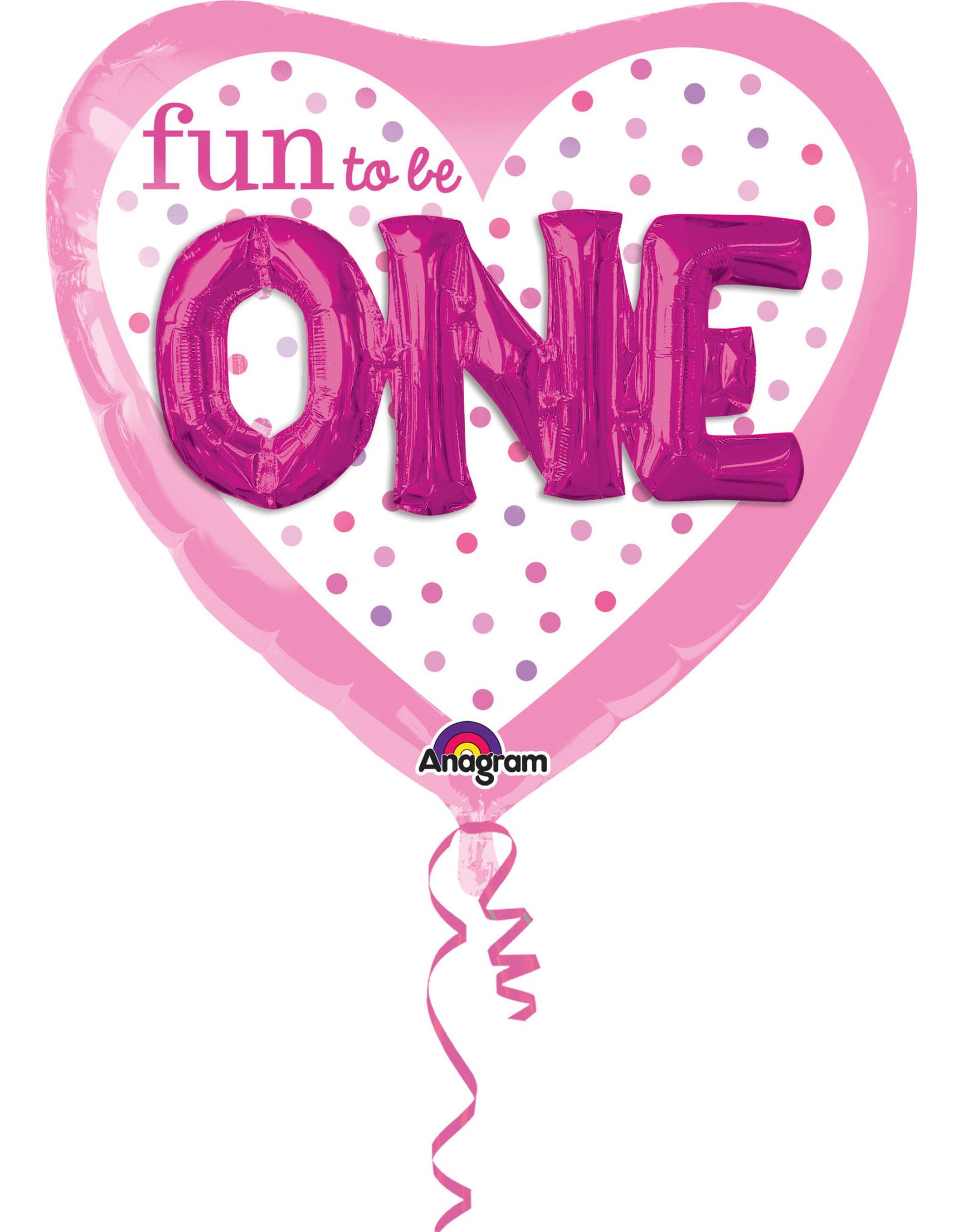 Amscan 3d folieballon fun to be one girl 91x91cm
