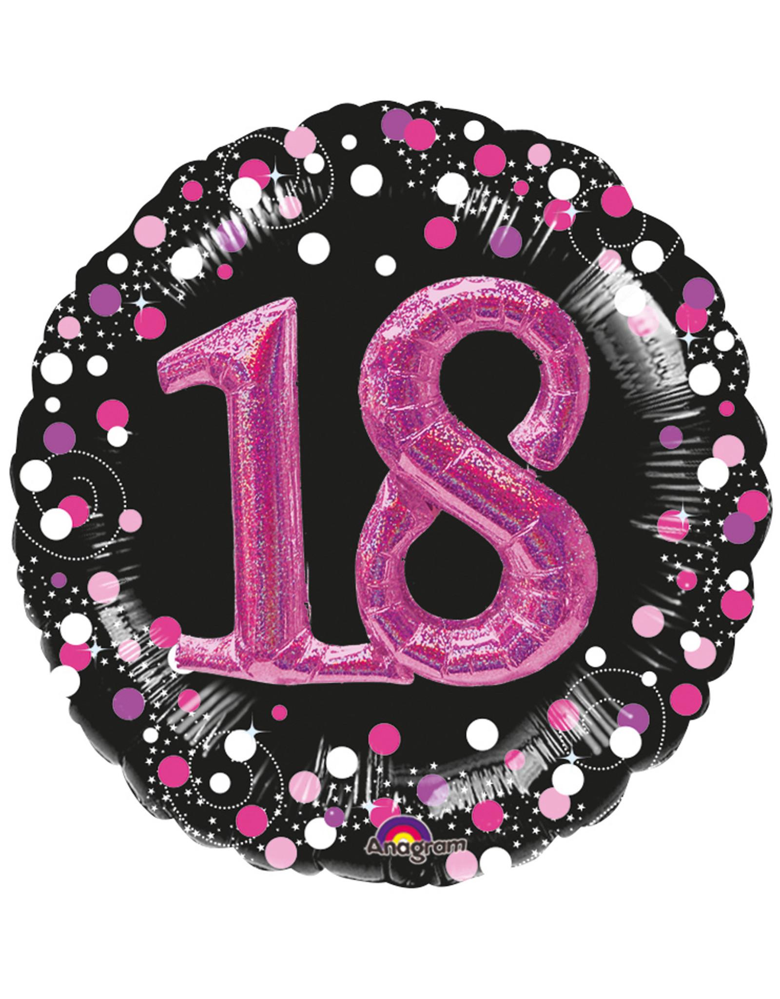 Amscan  folieballon sparkling  18 jaar zwart/roze 3D