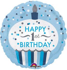 Amscan folieballon 1st birthday cupcake blue 45 cm