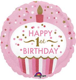 Amscan folieballon 1st birthday cupcake pink 43 cm