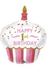 Amscan folieballon 1st birthday cupcake pink 73 x 91 cm
