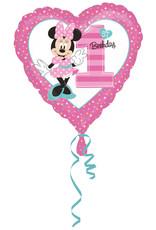 Amscan folieballon 1st birthday Minnie Mouse 43 cm