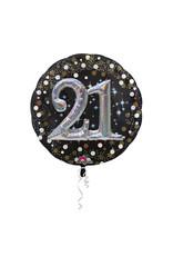 Amscan folieballon 21 jaar zwart zilver 3D 81 cm