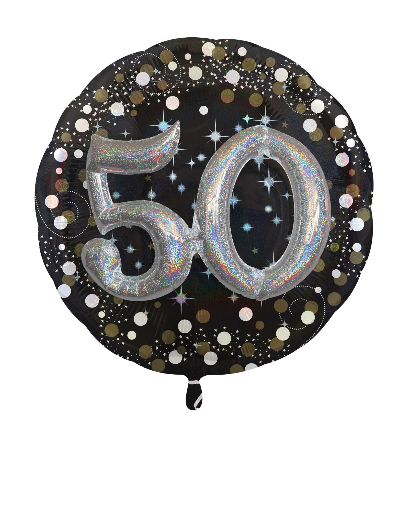 Amscan folieballon 3D 50 jaar zwart zilver