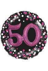 Amscan folieballon 50 jaar roze/zwart 3D 81 cm