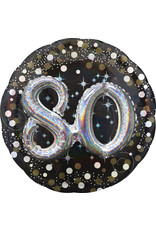 Amscan folieballon 80 jaar zwart zilver 3D 81 cm