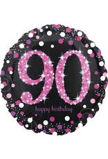 Amscan folieballon 90 jaar zwart roze 45 cm